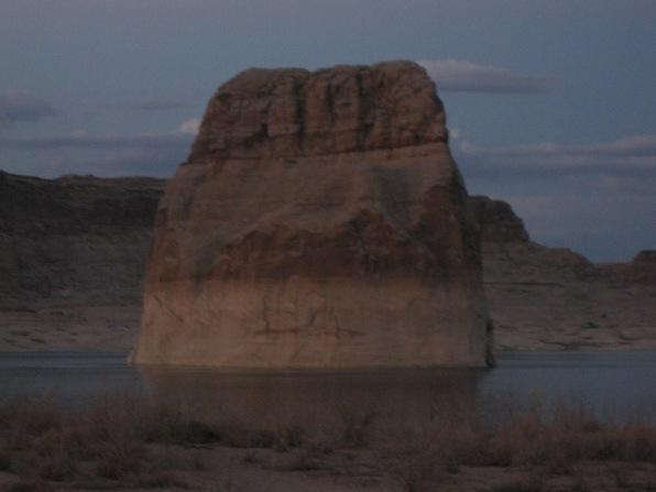 9_lone rock at dusk